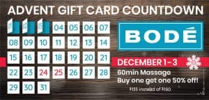 From December 1 until December 3. Buy this gift card special: Buy a 60min massage, get another at 50% off.