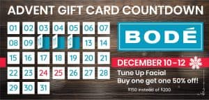 From December 10 until December 12. Buy this gift card special: Buy a Tune Up facial, get another 50% off.