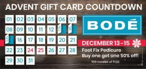 From December 13 until December 15. Buy this gift card special: Buy a Foot Fix pedicure, get another 50% off.