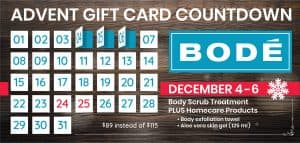 From December 4 until December 6. Buy this gift card special: Body Scrub and homeware products $89 instead of $115